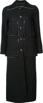 Song For The Mute , Striped Coat Women Cottonwool 34, Black