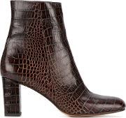 Maryam Nassir Zadeh , Alligator Embossed Agnes Boots Women Leather 36.5, Brown