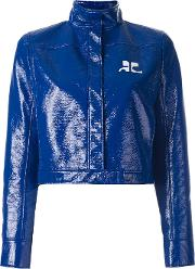 Courreges , Vinyl Cropped Jacket Women Cottonpolyurethanecupro 38, Blue
