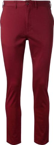 Fadeless , Cropped Chino Trousers Men Cottonpolyurethane 36, Red