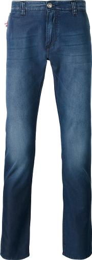 Isaia , Faded Slim Fit Jeans Men Cotton 54, Blue