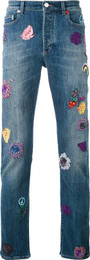 Paul Smith London , Embroidered Patch Straight Jeans Men Cottonpolyesterspandexelastane 30, Blue