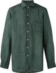 Massimo Alba , Long Sleeve Pocket Shirt Men Ramie L, Green