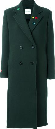 Mira Mikati , Lapel Detailing Double Breasted Coat Women Cottonpolyamidevirgin Wool 38, Green