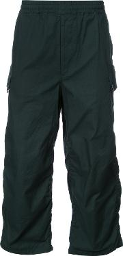 Undercover , Gathered Detail Cropped Trousers Men Cotton 4, Green
