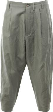 08sircus , Cropped Loose Fit Trousers Men Linenflaxnylon 7, Green