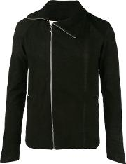 A New Cross , Zipped Fitted Jacket Men Cottonnubuck Leather L, Black