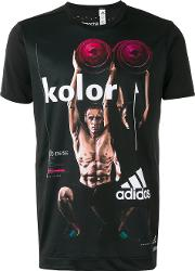 Adidas By Kolor , Printed Short Sleeve T Shirt Men Polyester Xl, Black