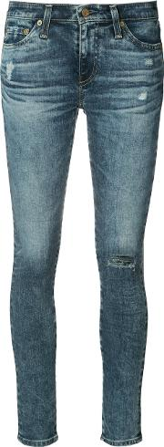 Ag Jeans , Skinny Distressed Jeans Women Cottonpolyurethane 24, Blue