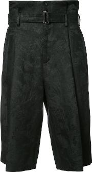 Aganovich , Belted Cropped Trousers Men Linenflax 50, Black