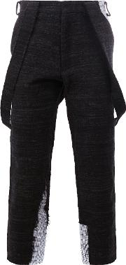 Aganovich , Draped Pockets Cropped Trousers Men Cottonpolyamidepolyesterpolycarbonite 46, Black