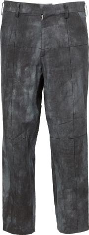 Aganovich , Faded Print Cropped Trousers Men Cotton 50, Grey