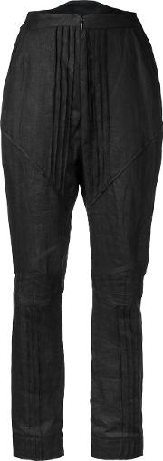 Aganovich , Pleated Pants Women Linenflax 38, Black