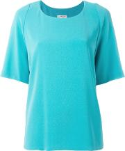 Alberto Biani , Plain T Shirt Women Polyestertriacetate 40, Blue