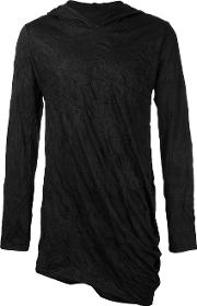 Alchemy , Crumpled Effect Hoodie Men Cottonspandexelastane S, Black
