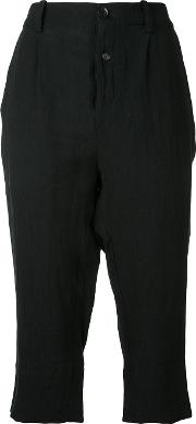 Aleksandr Manamis , Pleated Cropped Trousers Women Cottonlinenflax 2, Black