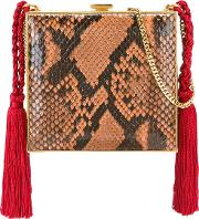 Alessandra Rich , Square Tasseled Clutch Women Silkpython Skinmetal Other One Size, Brown