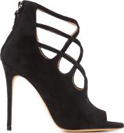 Alexa Wagner , Cross Strapped Sandals Women Leathersuede 37.5, Black