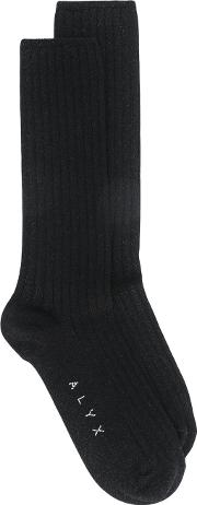 Alyx , Branded Socks Women Cottonpolyamidepolyesterspandexelastane One Size, Black