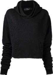 Amiri , Destroyed Cropped Hoody Women Cotton Xs, Black