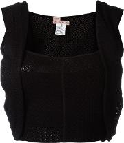 And Re Walker , Woven Overlay Detail Cropped Top Women Rayonpolyamidespandexelastane S, Black