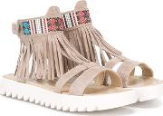 Andrea Montelpare , Fringed Sandals Kids Goat Skinsuederubber 33, Brown