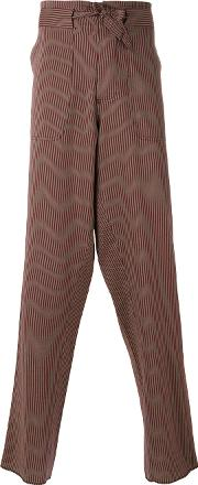 Andrea Pompilio , Belted Striped Trousers Men Cottonacetate 46, Red