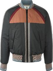 Andrea Pompilio , Striped Detailing Bomber Jacket Men Polyester 46, Grey