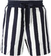 Andrea Pompilio , Striped Drawstring Shorts Men Cottonviscose 48, Blue
