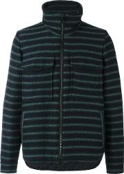 Andrea Pompilio , Striped High Neck Cardigan Men Polyesterviscosevirgin Wool 50, Blue