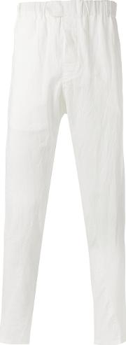 Ann Demeulemeester Grise , Creased Effect Trousers Men Cottonrayon S, White