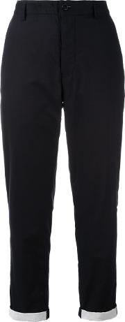 Ann Demeulemeester Grise , Tapered Cropped Trousers Women Cotton 40, Black