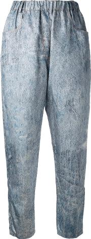 Anntian , Denim Print Trousers Women Silkpolyamidepolyester S, Blue