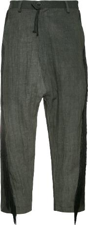 Area Di Barbara Bologna , Cropped Fringe Trousers Women Linenflax S, Grey