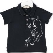 Armani Junior , Panther Print Polo Shirt Kids Cotton 9 Mth, Blue