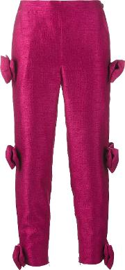 Ashish , Bow Embellished Cropped Trousers Women Polyester S, Pinkpurple