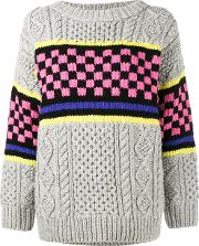 Ashley Williams , Chunky Checkerboard Knitted Jumper Women Lambs Wool S, Grey