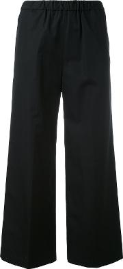 Aspesi , Cropped Flared Trousers Women Cotton 42, Black