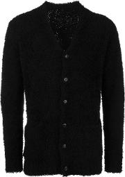 Attachment , Textured Long Sleeve Cardigan Men Wool 4, Black