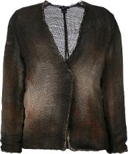 Avant Toi , Cross Body Overdyed Knitted Jacket Women Cottonlinenflax L, Brown