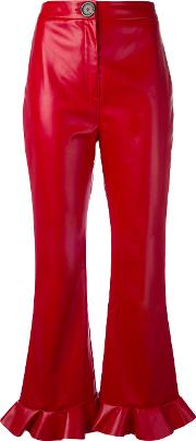 Awake , A.w.a.k.e. Cropped Flared Trousers Women Polyesterviscose 38, Red