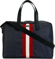 Bally , Contrast Stripe Holdall Men Leathernylon One Size, Blue