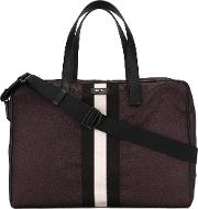 Bally , Striped Holdall Men Leathernylon One Size, Red