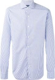 Barba , Checked Shirt Men Cotton 44, Blue