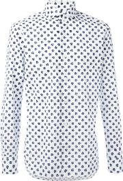 Barba , Clover Print Shirt Men Cotton 40, White