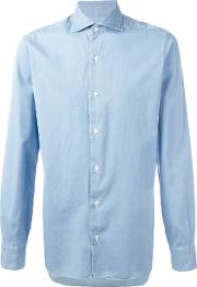 Barba , Pleated Cuff Shirt Men Cotton 41, Blue