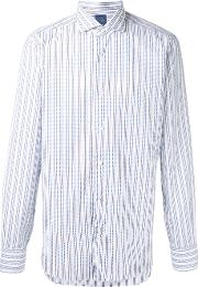 Barba , Striped Shirt Men Cotton 44, White