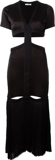 Barbara Casasola , Pleated Cut Out Detail Zip Up Dress Women Polyester 42, Black