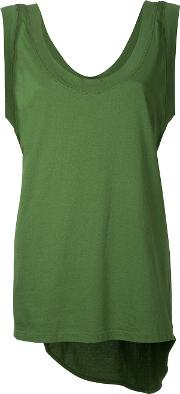 Bassike , Scoop Neck Tail Tank Top Women Cotton L, Green