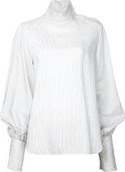 Bassike , Striped Funnel Neck Top Women Silkviscose 8, White